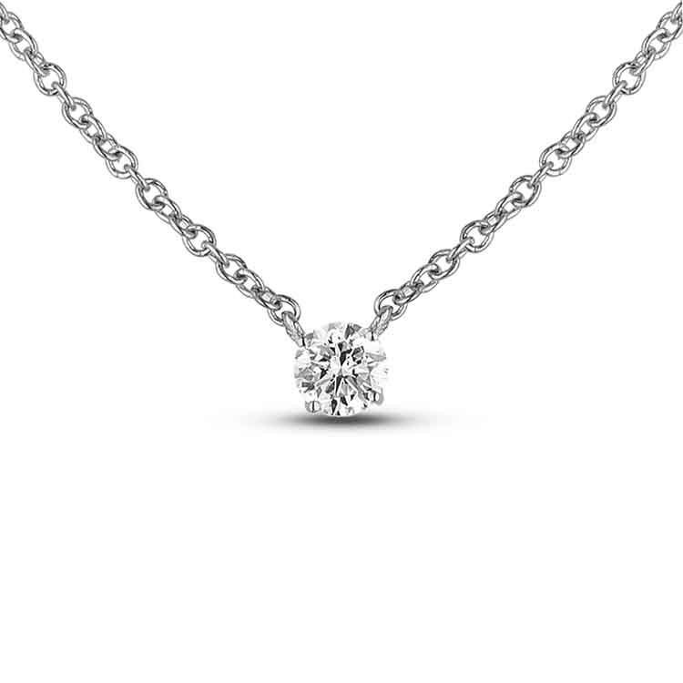 Silvercartvila 0.05 Cts Round Sim Diamond Small Heart Key Pendant W//18 Chain 14K White Gold Plated