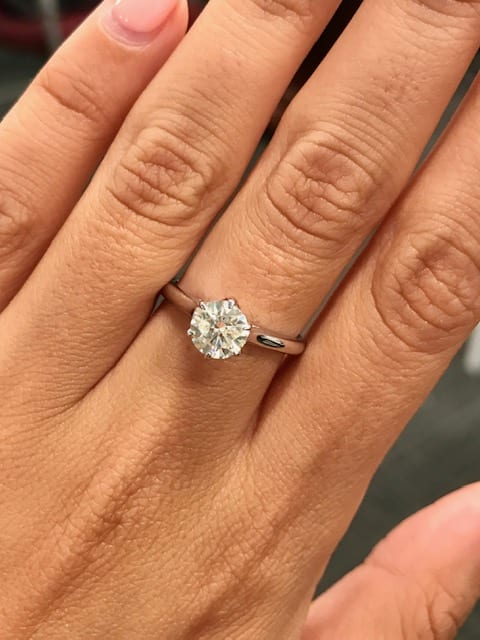 1 01 Carat Canadian Diamond Solitaire Engagement Ring In 14k Lugaro