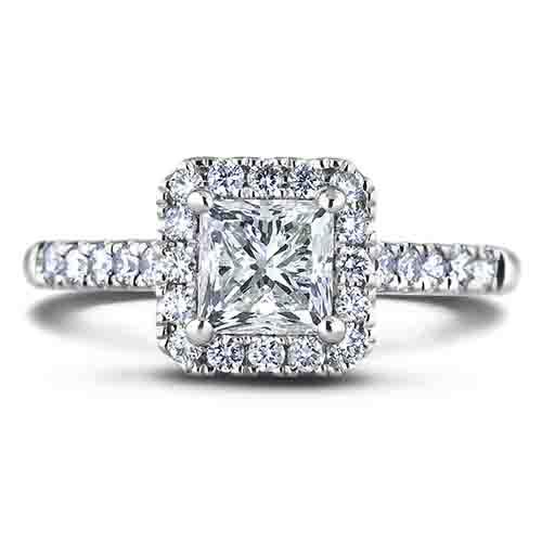 1 0 Ct Princess Cut Gia Diamond Halo Engagement Ring In 18k Lugaro