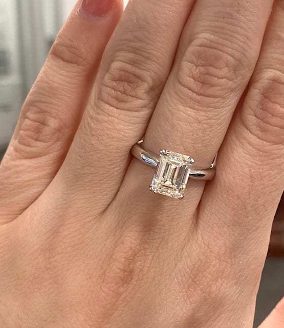 2 74 Carat Emerald Cut Canadian Diamond Solitaire Ring In 14k Lugaro